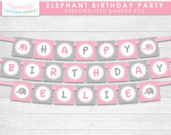 Elephant Theme Happy Birthday Party Banner | Pink & Grey | Personalized | Printable DIY Digital File