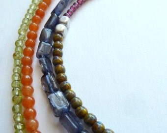 Necklace, Long Multi Beaded Necklace, Multi Gem Necklace, Boho Style Multi Coloured Necklace, Agate Garnet Iolite Peridot Gems, Gift for Her