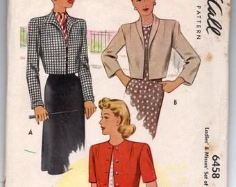 """1940's McCall Bolero Pattern - Bust 30"""" - No. 6458"""