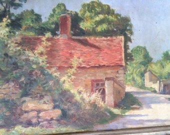 French  painting G.Moroge 1920. French village. Country side.