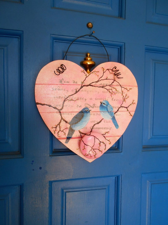Wooden Heart Hand Painted Heart Bird Wall By Kathleenmelville1