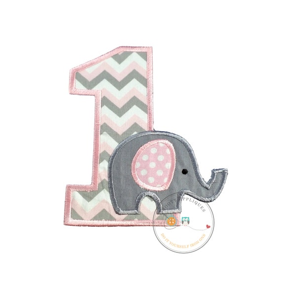Baby Elephant First Birthday Iron On Applique Number Elephant