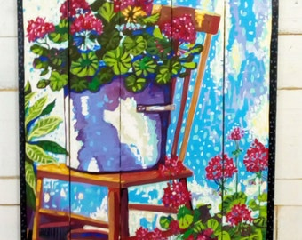 "Pots of Geraniums  against the garden wall by Kim McCoy Large original painting 48""x 28"" folk art"