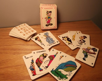 Pinocchio - UNUSED Vintage Russell Mfg Walt Disney Productions Miniature Children's Card Game No. 3 | Character Images 1940s 1950s | Minty