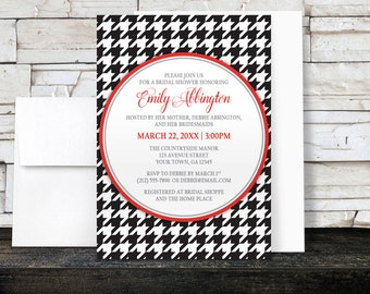 Houndstooth Bridal Shower Invitations - Black and Red Stylish and Classic Dogtooth Pattern design - Printed Invitations