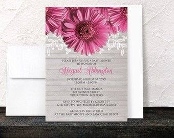 Rustic Pink Gerbera Daisy Baby Shower Invitations - Floral & Wood - Printed Invitations