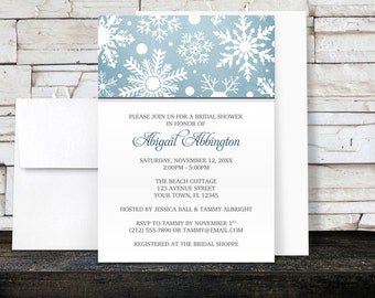 Winter Snowflake Bridal Shower Invitations in Blue White and Gray - Printed Invitations