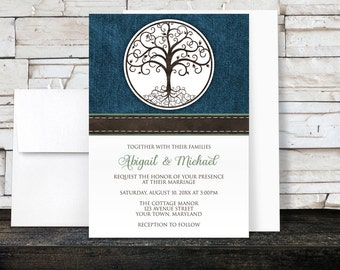 Tree of Life Wedding Invitations - Rustic Tree of Life over Blue Denim with Green - Printed Invitations