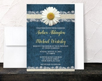 Daisy Wedding Invitations - Burlap Lace Rustic Country Denim Floral - Yellow Navy Blue Beige - Printed Invitations