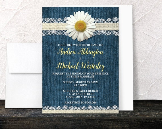 Denim Wedding Invitations: Burlap Lace Rustic Country