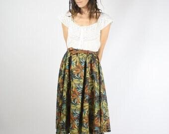 80s Midi Skirt, Vintage Jungle print skirt, Brown Khaki Full skirt High waisted Belted skirt, Small 3531