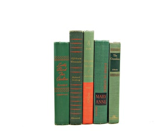Fern Green BOoks, Decorative Books, Orange Book Set, Coral Book Stack, BOok COllection, VIntage Book Decor, Instant Library, Bookshelf Decor