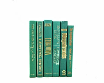 Teal Green Decorative Books, Vintage Books, Old Book Decor, Wedding Decor Centerpiece, Book Collection, Instant Library, Book Set stack