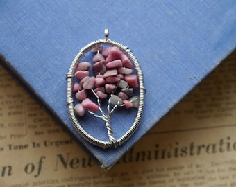 Wire Wrapped Pink Rhodochrosite Silver Tree Pendant Charms 58mm (SC2851)