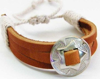 Genuine Latigo Leather Silver Concho Bracelet, Adjustable, Western Style Cuff Bracelet for Guys or Gals.  FREE U.S. Shipping