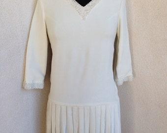 SALE Vintage ivory mod cute short mini dress rhinestones pleats sz xs or teen 14/16