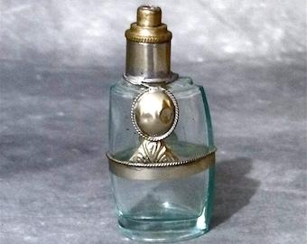 Vintage Aqua Glass Mexican Silver Perfume Cologne Bottle Southwestern Glass Art 1940s