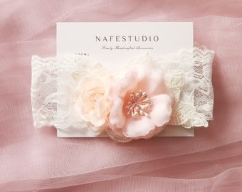Wedding Garter Bridal Garter Belt - Peach Pink Flower Garter Belt - Rustic Wedding Boho Bridal Flowers Garters Prom Garter