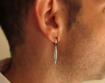Mens Earring, Single Feather Earring for Men, Men's Jewelry - Black Mens Hoops - Mens Hoop Earrings - Guys Earrings -  goth gothic