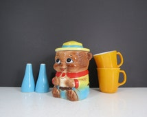 Vintage Bear Cookie Jar // Small Petite Cookie Jar Mid Century Retro Colorful Teddy Bear Ranger Scout Style Kitchen Storage Container