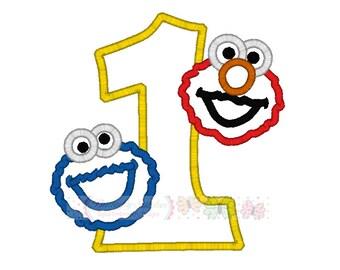 Cookie Elmo Number One Digital Embroidery Applique Design
