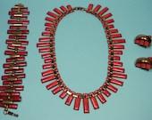 Copper Matisse Peter Pan Jewelry Set, Ravishing Red Enamels, 50s Vintage Book Piece