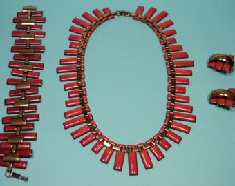 Matisse Copper Peter Pan Jewelry Set, Ravishing Red Enamels, 50s Vintage Book Piece