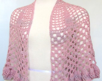 Pink and Silver Crocheted Shawl beaded hand crochet cape