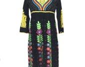 vintage embellished floral Indian dress / black rainbow / beaded embroidered / festival dress / women's vintage dress / size small