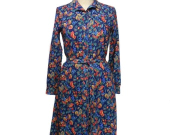vintage 1970s LIBERTY of LONDON shirt dress / wool / Hannum Designs / floral leaves autumn / women's vintage dress / tag size 8
