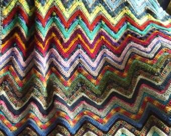 Ribbed Ripple Afghan in Scraps - Crochet Throw Blanket