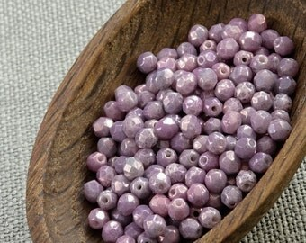 4mm Faceted beads 50pc Lavender Czech Fire Polished Beads 4mm Opaque Round Glass Small Polish Faceted Purple Amethyst last
