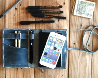 iPhone 6s cover. Moleskine and iPhone organizer. Iphone 6 leather case. Bluish gray color. Travel journal cover. Travel accessories. Agenda