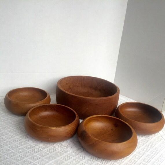 Wooden Dining Bowls ~ Wooden salad bowl set vintage serving dishes rustic dining
