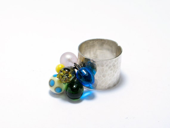 Glass lampwork ring. Sterling silver ring. Cocktail ring, Modern jewelry. adjustable ring. contemporary ring. OOAK