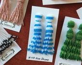 Beaded Tassel Clip-On Earrings Blue Stripes (made to order)