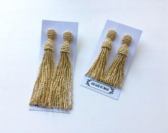 Beaded Tassel Earrings Gold Metal (made to order)