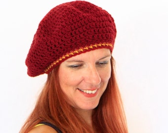 Beret hat chunky tam hat winter fashion, Phoebe Line, in burgundy with a yellow line, ready to ship