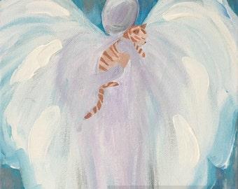 """Pet Cat Remembrance Memorial Gift Painting PRINT Orange Tiger Cat Guardian Angel Art 8"""" x 10"""""""