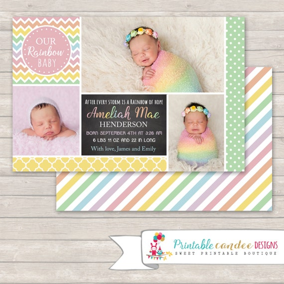 Pastel Rainbow Birth Announcement