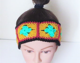 Rasta Granny Headband, Crochet Granny Squares Headband, Granny Square Hair Accessories, Festive Hairband, Island Accessories, NEW 2016!