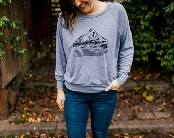 Mt Hood/Portland Longsleeve American Apparel Shirt