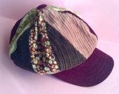 90's Corduroy Hat / Cap, velour, brown / pink / ecru / burgundy / floral, original, egst, Greece
