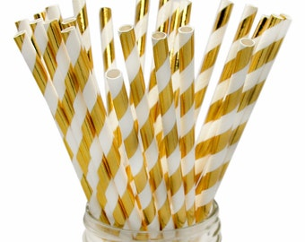 Gold Foil Striped Paper Straws, Wedding Straws, Golden Paper Straws, Gold Striped Straws