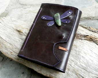 Dragonfly Leather A5 Journal with Australian Chrysoprase Blank Page Journal Notebook Dragonfly Totem Animal