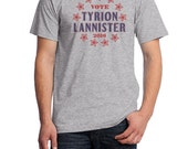 Vote Tyrion Lannister 2016, Fruit of the Loom, Direct to Garment, Mens T-Shirt in Heather Gray