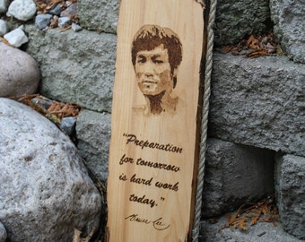 Pyrography Bruce Lee Pop Art Portrait with Quote & Signature on Distressed Maple and Natural Fiber Rope Edging