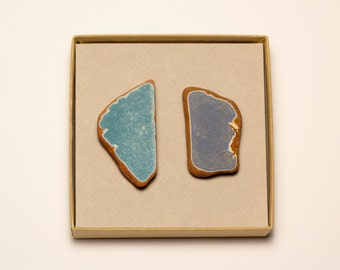 Two Large Blue Pottery Magnets   Terracotta Pottery Shards magnets, Blue Ceramic magnet, unique home decor gift, message board, refrigerator