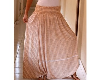 Brown and White Harem Pants / Checkered Harem Pants / Plaid Maxi Pants / Brown Checkered Long Maxi Skirt