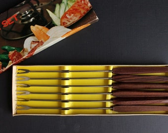 Vintage Fondue Forks Set of 6 Stainless Steel and Rosewood